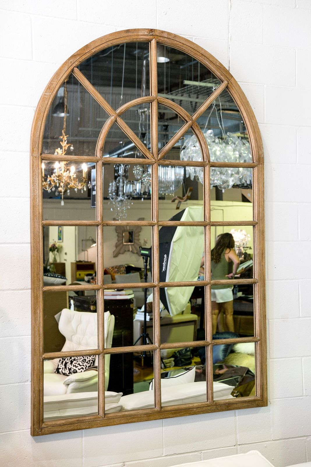 Arch Window Oak Mirror