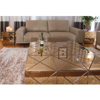 CHAMPAGNE MIRRORED CHEST, COFFEE OR SIDE TABLE
